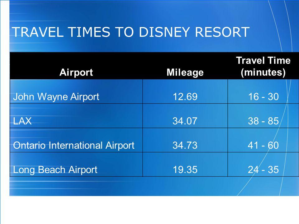 99 TRAVEL TIMES TO DISNEY RESORT AirportMileage Travel Time (minutes) John Wayne Airport12.6916 - 30 LAX34.0738 - 85 Ontario International Airport34.7