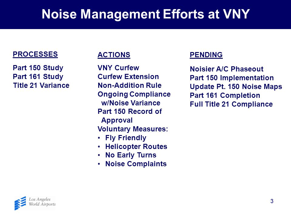 3 Noise Management Efforts at VNY PROCESSES ACTIONSPENDING Part 150 Study Part 161 Study Title 21 Variance VNY Curfew Curfew Extension Non-Addition Ru