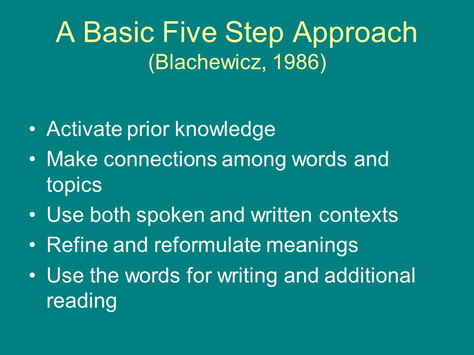 A Basic Five Step Approach (Blachewicz, 1986) Activate prior knowledge Make connections among words and topics Use both spoken and written contexts Refine and reformulate meanings Use the words for writing and additional reading