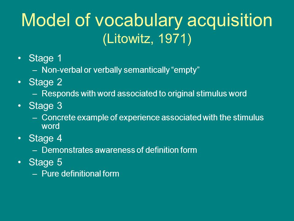 "Model of vocabulary acquisition (Litowitz, 1971) Stage 1 –Non-verbal or verbally semantically ""empty"" Stage 2 –Responds with word associated to origin"