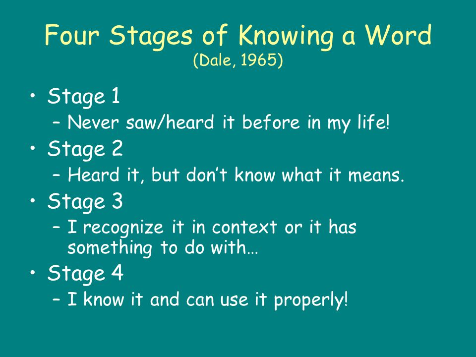 Four Stages of Knowing a Word (Dale, 1965) Stage 1 –Never saw/heard it before in my life! Stage 2 –Heard it, but don't know what it means. Stage 3 –I