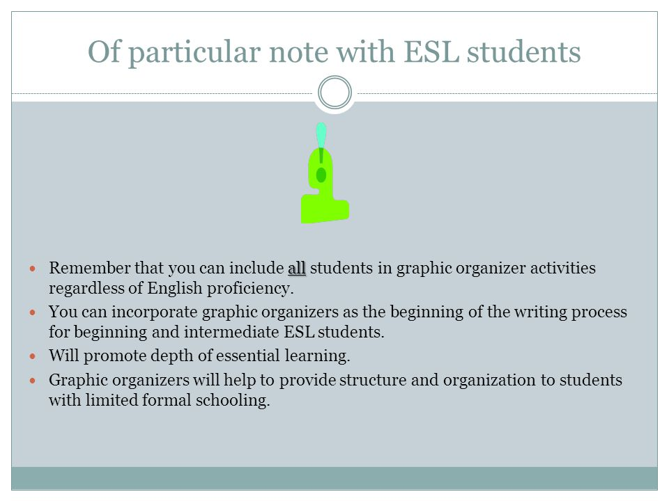 Of particular note with ESL students all Remember that you can include all students in graphic organizer activities regardless of English proficiency.