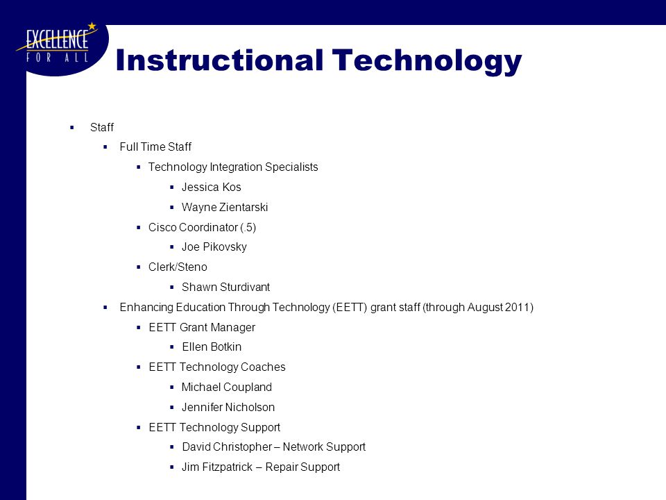 Instructional Technology  Staff  Full Time Staff  Technology Integration Specialists  Jessica Kos  Wayne Zientarski  Cisco Coordinator (.5)  Jo