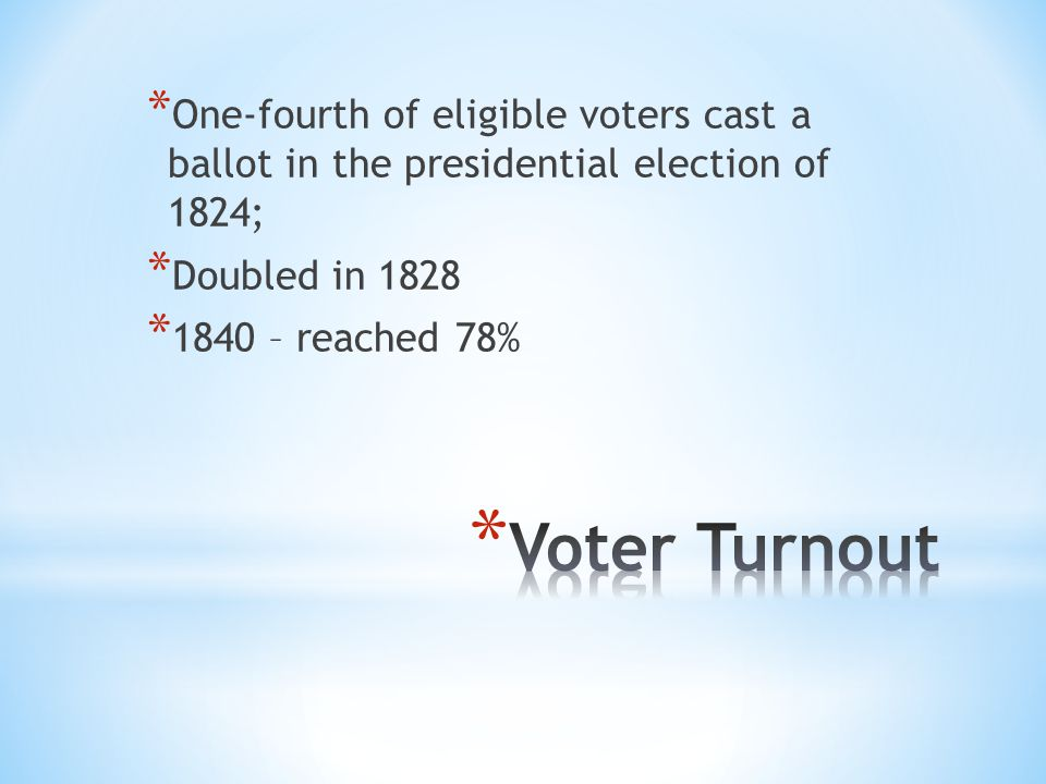 * One-fourth of eligible voters cast a ballot in the presidential election of 1824; * Doubled in 1828 * 1840 – reached 78%