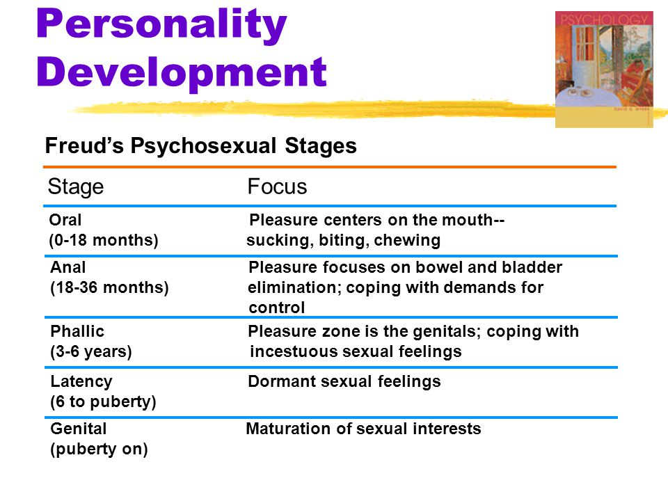 Personality Development Freud's Psychosexual Stages Stage Focus Oral Pleasure centers on the mouth-- (0-18 months) sucking, biting, chewing Anal Pleas
