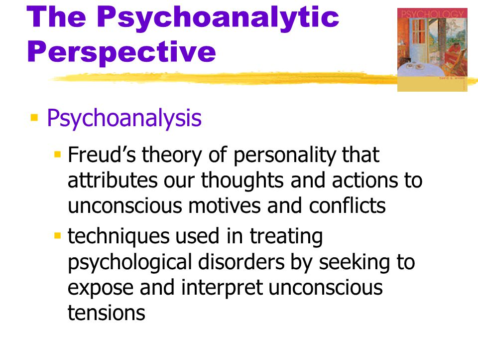 The Psychoanalytic Perspective  Free Association  in psychoanalysis, a method of exploring the unconscious  person relaxes and says whatever comes to mind, no matter how trivial or embarrassing