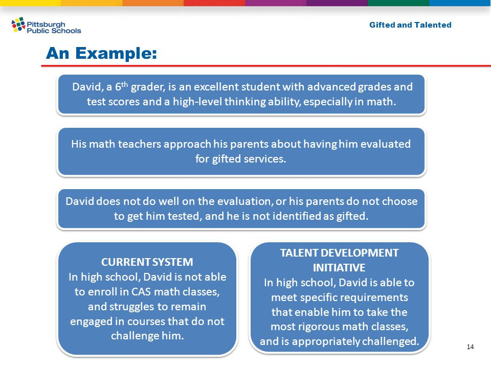An Example: Gifted and Talented David, a 6 th grader, is an excellent student with advanced grades and test scores and a high-level thinking ability,