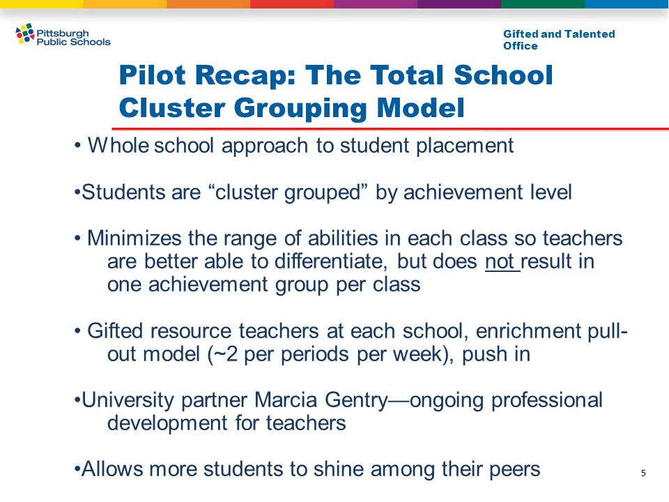 """Pilot Recap: The Total School Cluster Grouping Model Gifted and Talented Office Whole school approach to student placement Students are """"cluster group"""