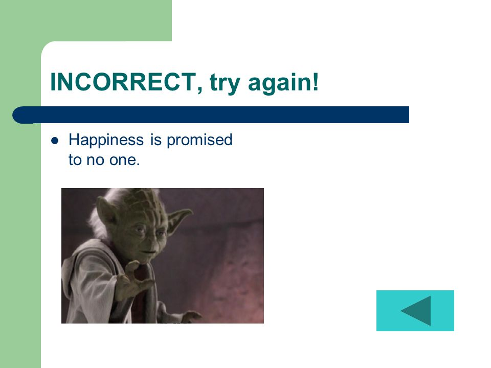 INCORRECT, try again! Happiness is promised to no one.
