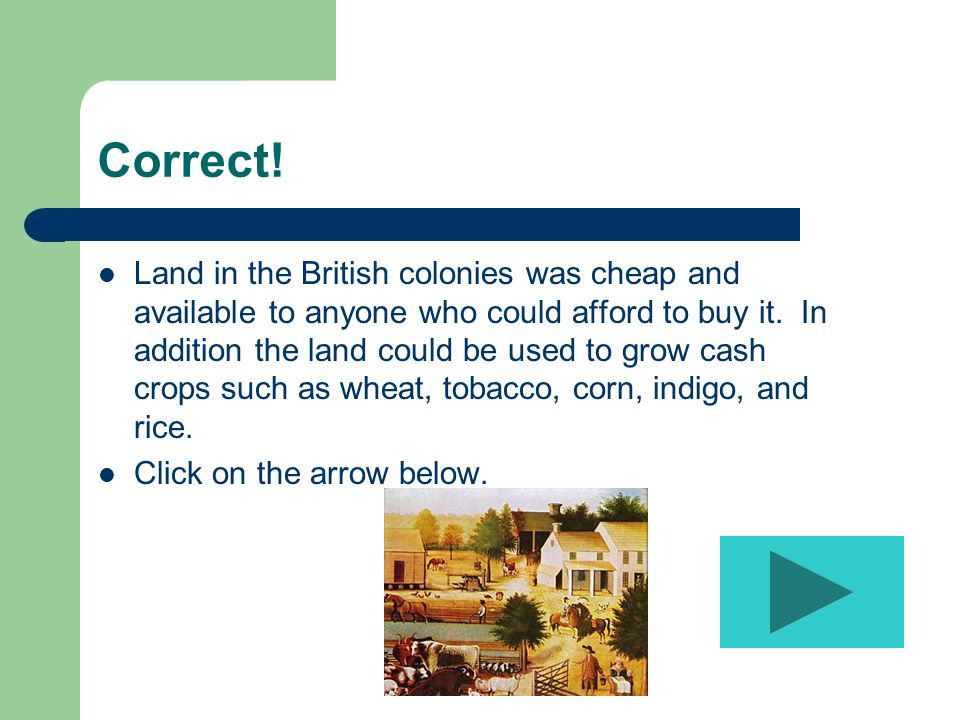 Correct. Land in the British colonies was cheap and available to anyone who could afford to buy it.