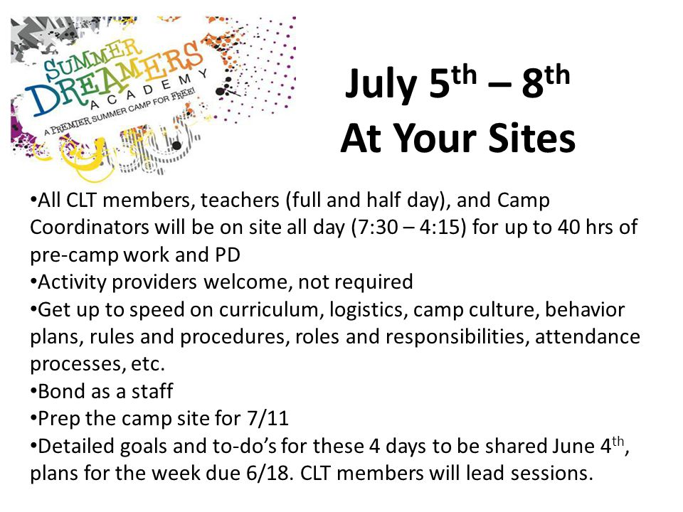 July 5 th – 8 th At Your Sites All CLT members, teachers (full and half day), and Camp Coordinators will be on site all day (7:30 – 4:15) for up to 40