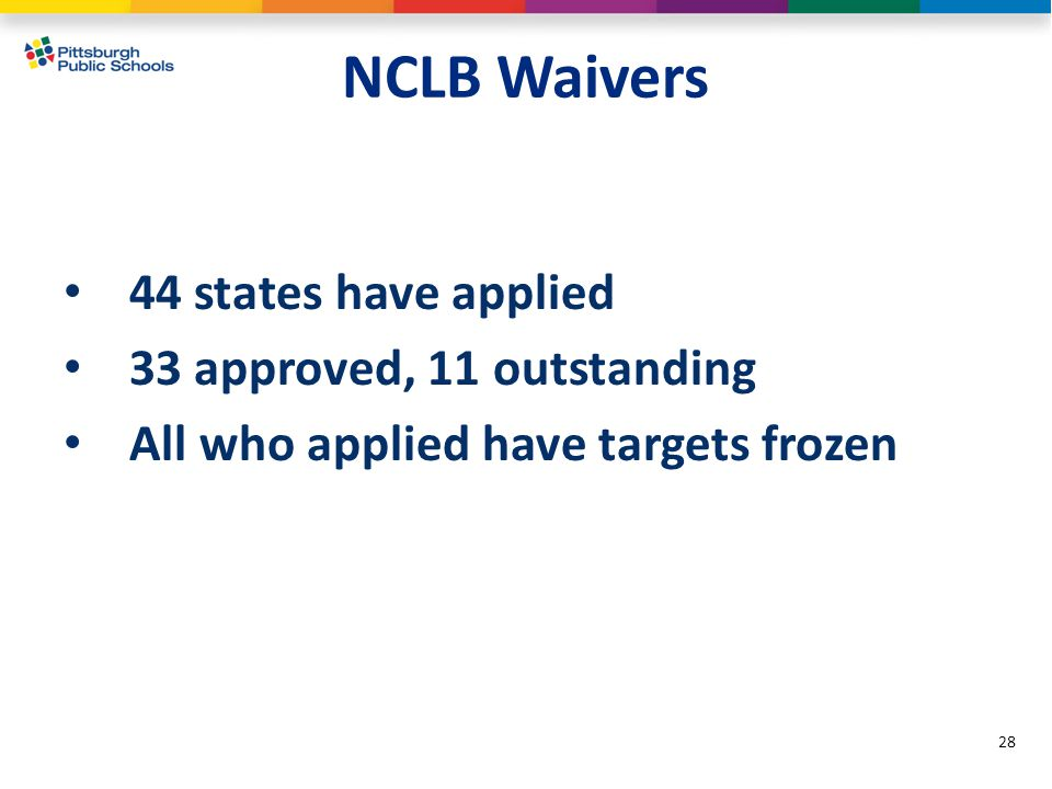 NCLB Waivers 44 states have applied 33 approved, 11 outstanding All who applied have targets frozen 28