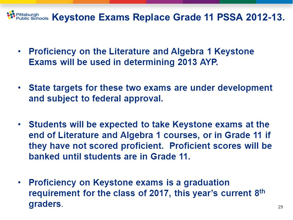 Keystone Exams Replace Grade 11 PSSA 2012-13.