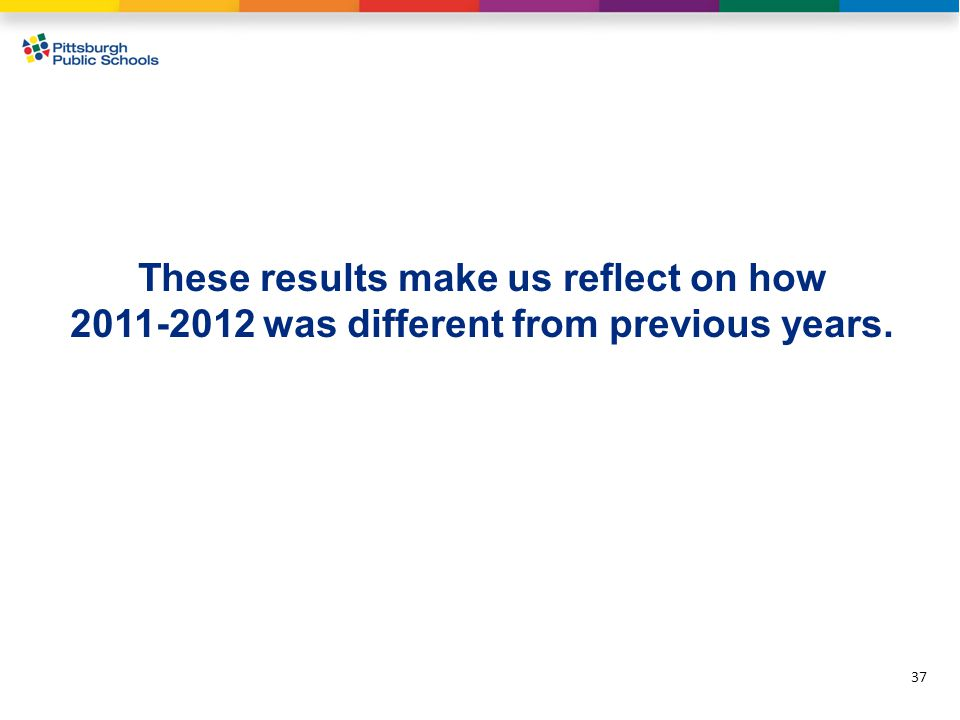 37 These results make us reflect on how 2011-2012 was different from previous years.