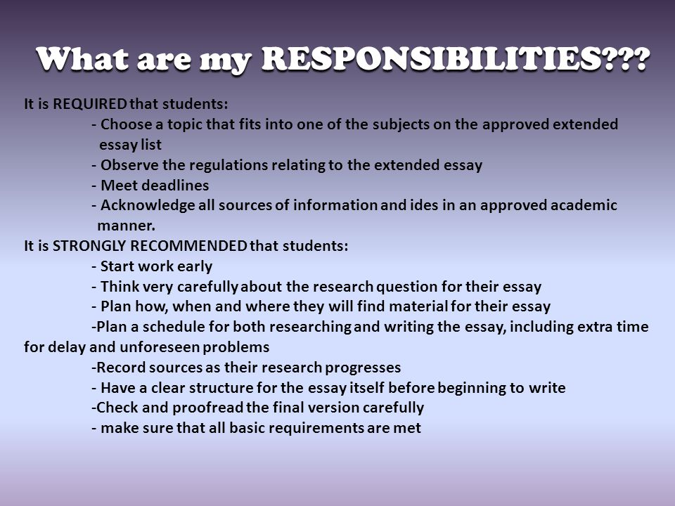 What are my RESPONSIBILITIES??.- THE EXTENDED ESSAY IS YOUR RESPONSIBILITY!!!!.