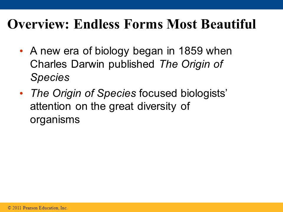 Overview: Endless Forms Most Beautiful A new era of biology began in 1859 when Charles Darwin published The Origin of Species The Origin of Species fo