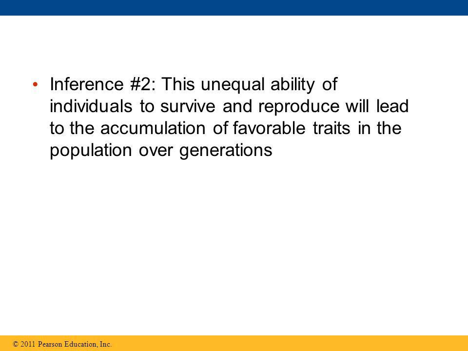 Inference #2: This unequal ability of individuals to survive and reproduce will lead to the accumulation of favorable traits in the population over ge