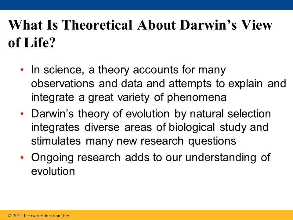 What Is Theoretical About Darwin's View of Life? In science, a theory accounts for many observations and data and attempts to explain and integrate a
