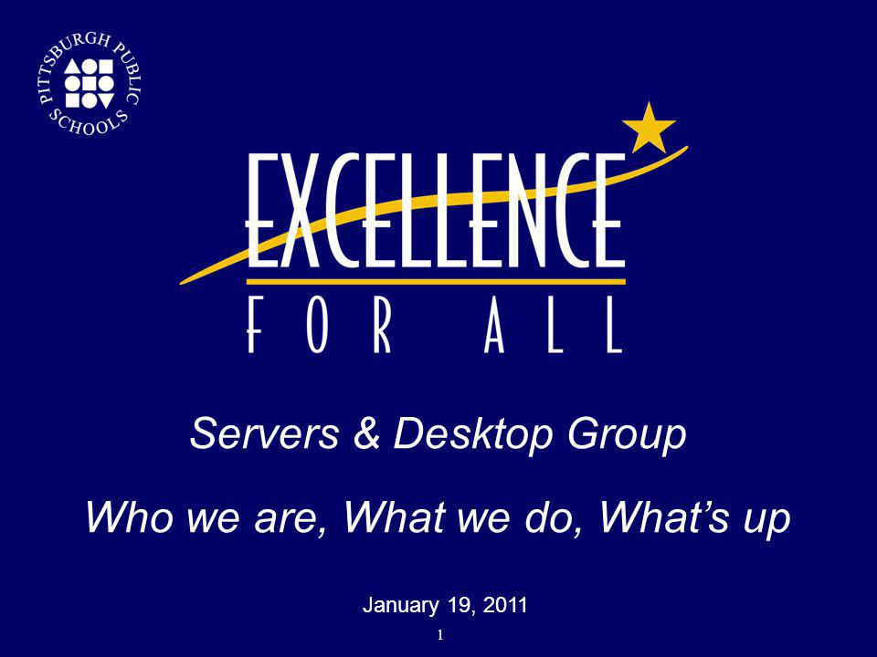 Servers & Desktop Group Who we are, What we do, What's up  January 19, 2011 1