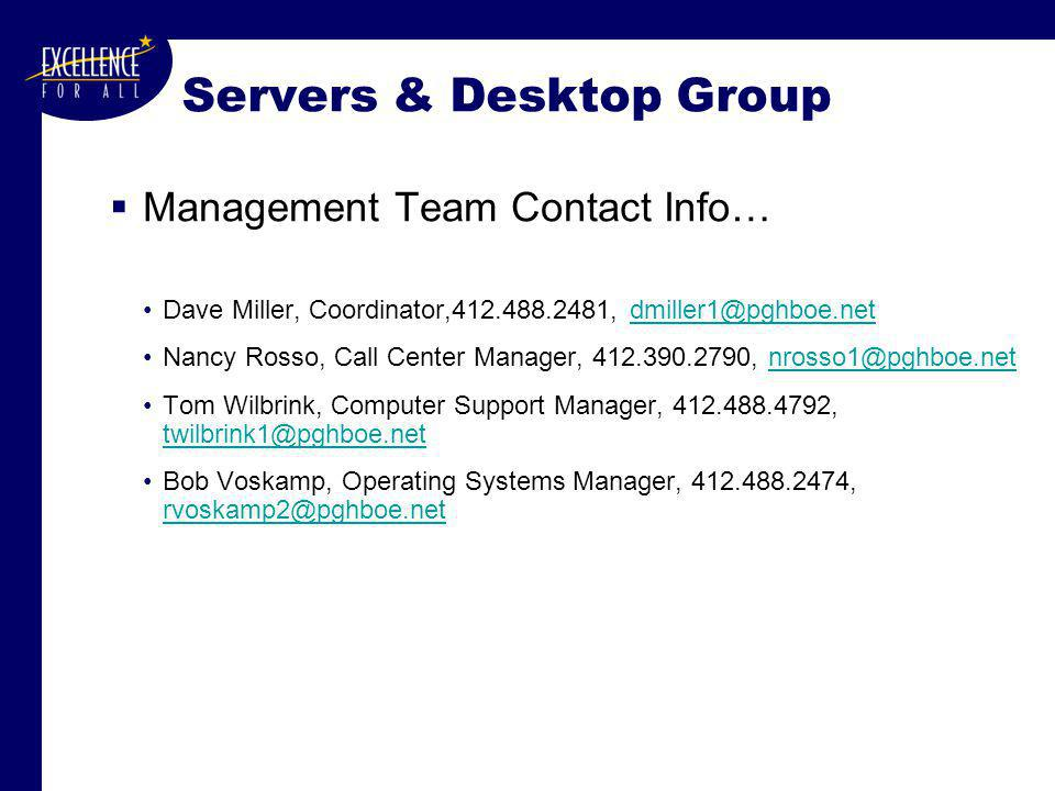 Servers & Desktop Group  Management Team Contact Info… Dave Miller, Coordinator,412.488.2481, dmiller1@pghboe.netdmiller1@pghboe.net Nancy Rosso, Call Center Manager, 412.390.2790, nrosso1@pghboe.netnrosso1@pghboe.net Tom Wilbrink, Computer Support Manager, 412.488.4792, twilbrink1@pghboe.net twilbrink1@pghboe.net Bob Voskamp, Operating Systems Manager, 412.488.2474, rvoskamp2@pghboe.net rvoskamp2@pghboe.net
