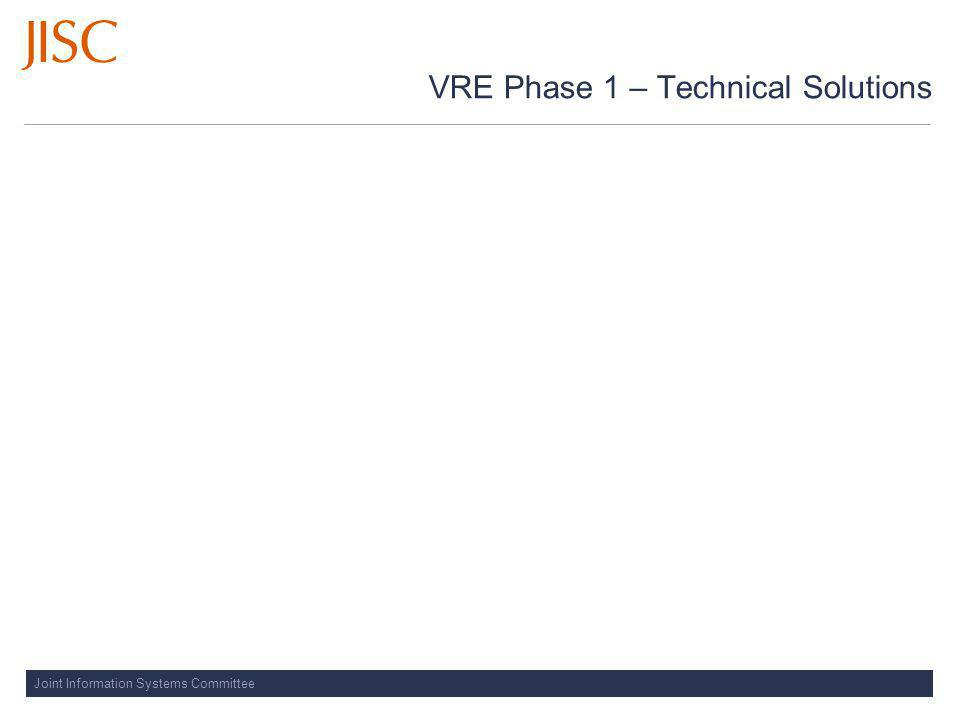 Joint Information Systems Committee VRE Phase 1 – Technical Solutions