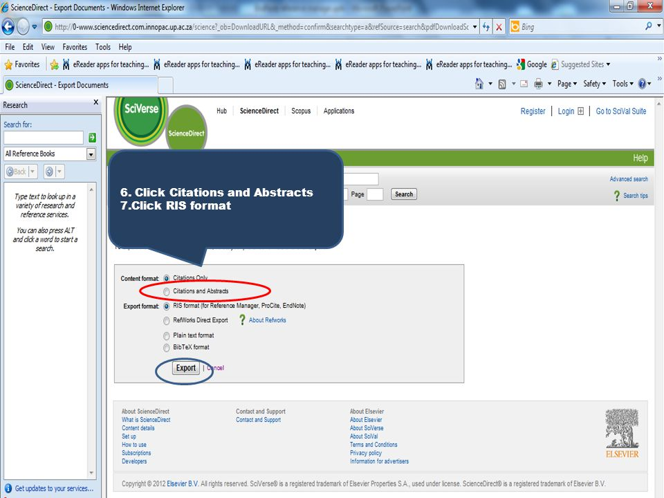 6. Click Citations and Abstracts 7.Click RIS format