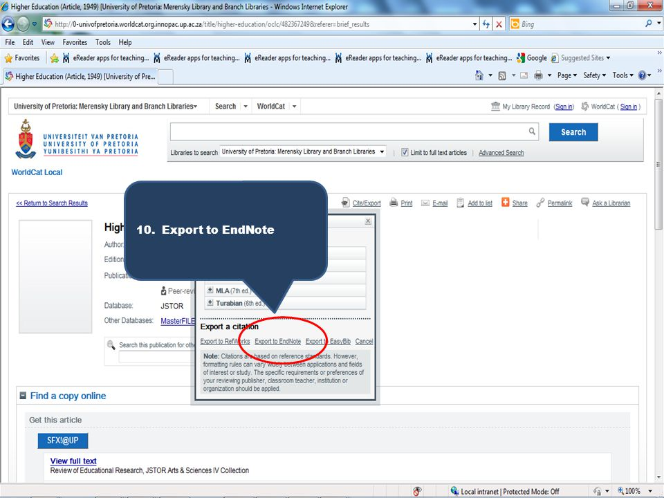 10. Export to EndNote