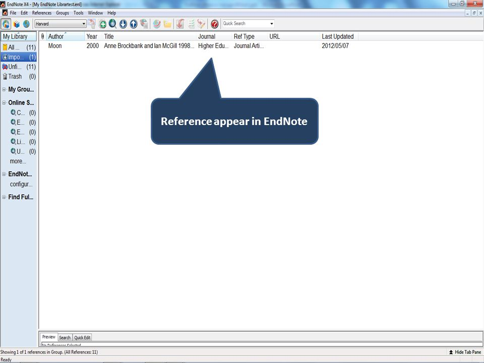Reference appear in EndNote