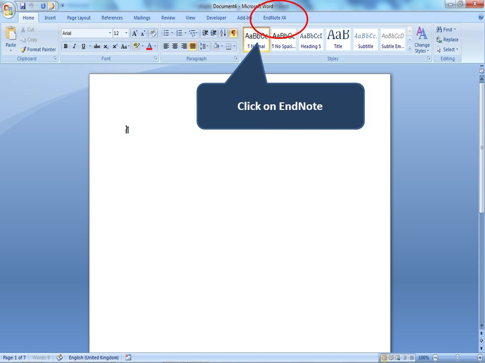 Click on EndNote