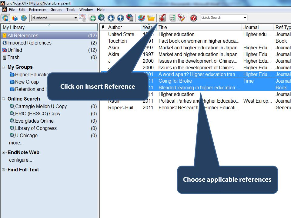 Choose applicable references Click on Insert Reference