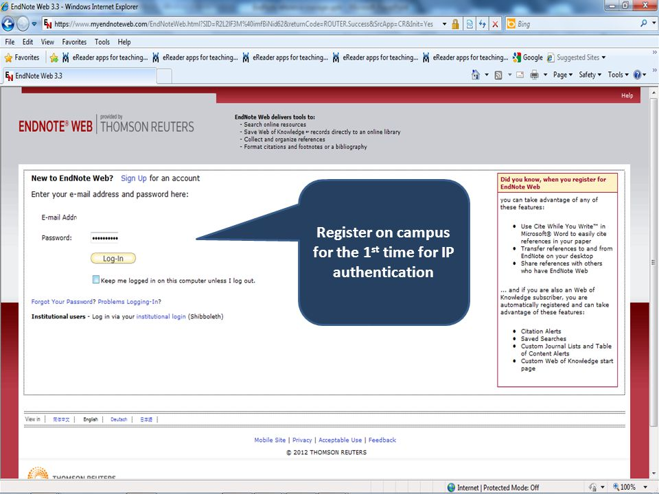 Register on campus for the 1 st time for IP authentication
