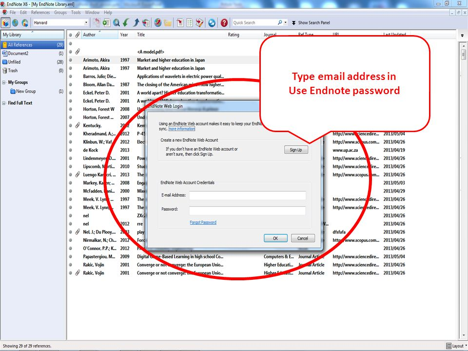 Type email address in Use Endnote password