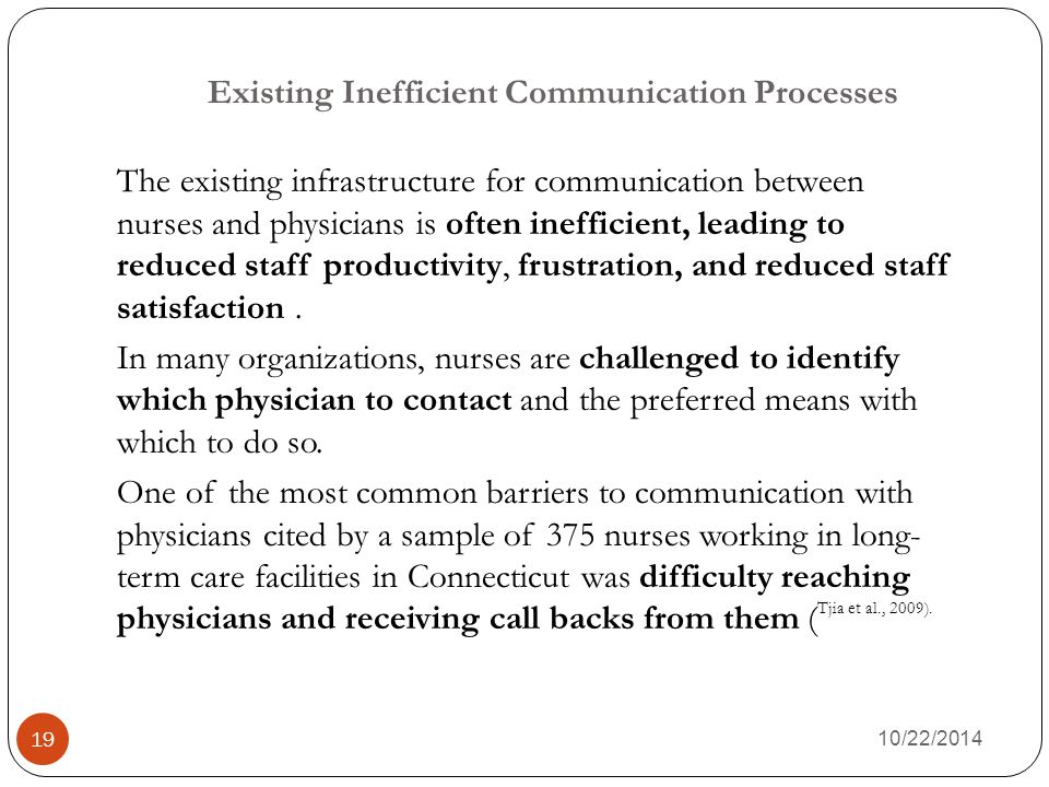 Existing Inefficient Communication Processes 10/22/2014 19 The existing infrastructure for communication between nurses and physicians is often inefficient, leading to reduced staff productivity, frustration, and reduced staff satisfaction.
