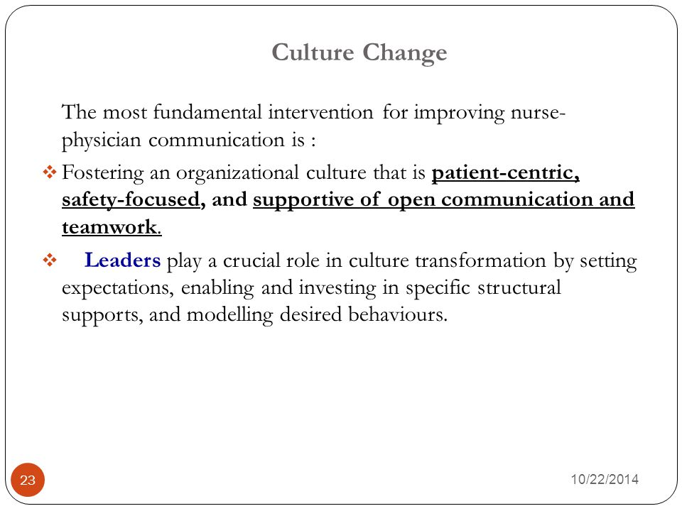 Culture Change 10/22/2014 23 The most fundamental intervention for improving nurse- physician communication is :  Fostering an organizational culture that is patient-centric, safety-focused, and supportive of open communication and teamwork.