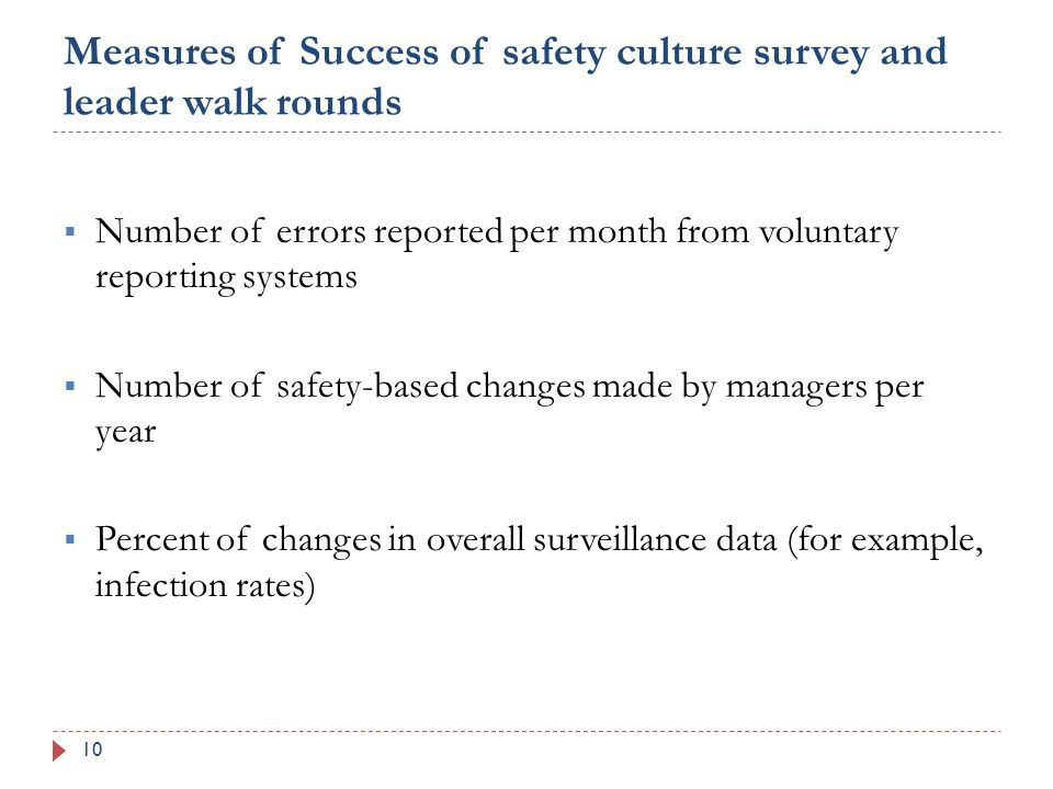 Measures of Success of safety culture survey and leader walk rounds 10  Number of errors reported per month from voluntary reporting systems  Number of safety-based changes made by managers per year  Percent of changes in overall surveillance data (for example, infection rates)