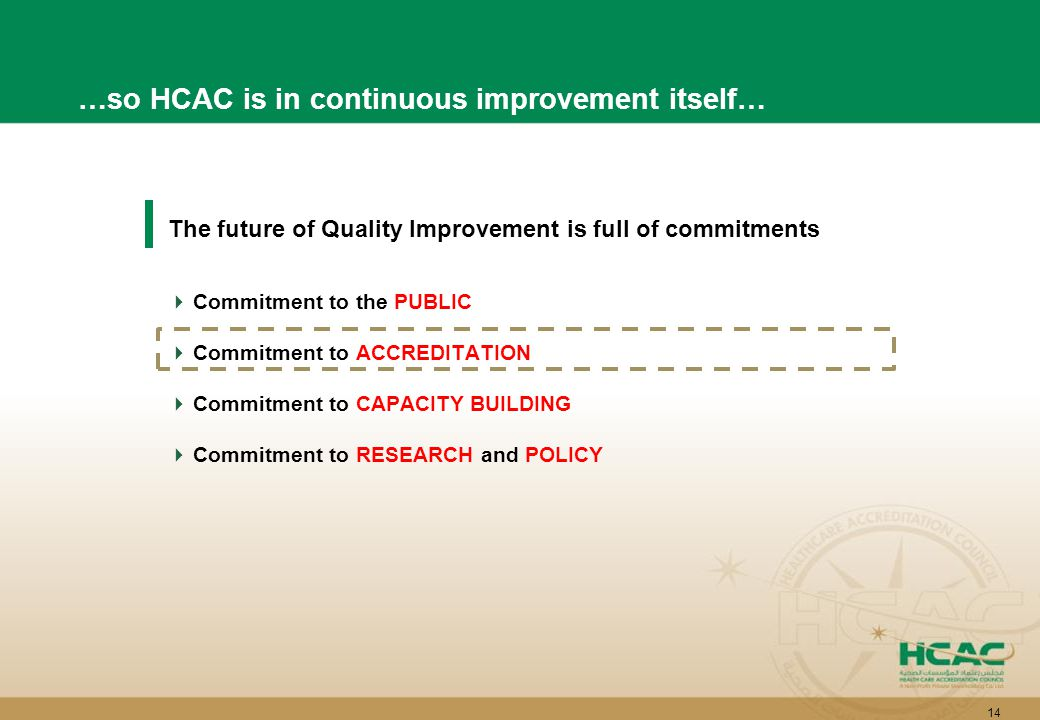 14 The future of Quality Improvement is full of commitments  Commitment to the PUBLIC  Commitment to ACCREDITATION  Commitment to CAPACITY BUILDING  Commitment to RESEARCH and POLICY …so HCAC is in continuous improvement itself…