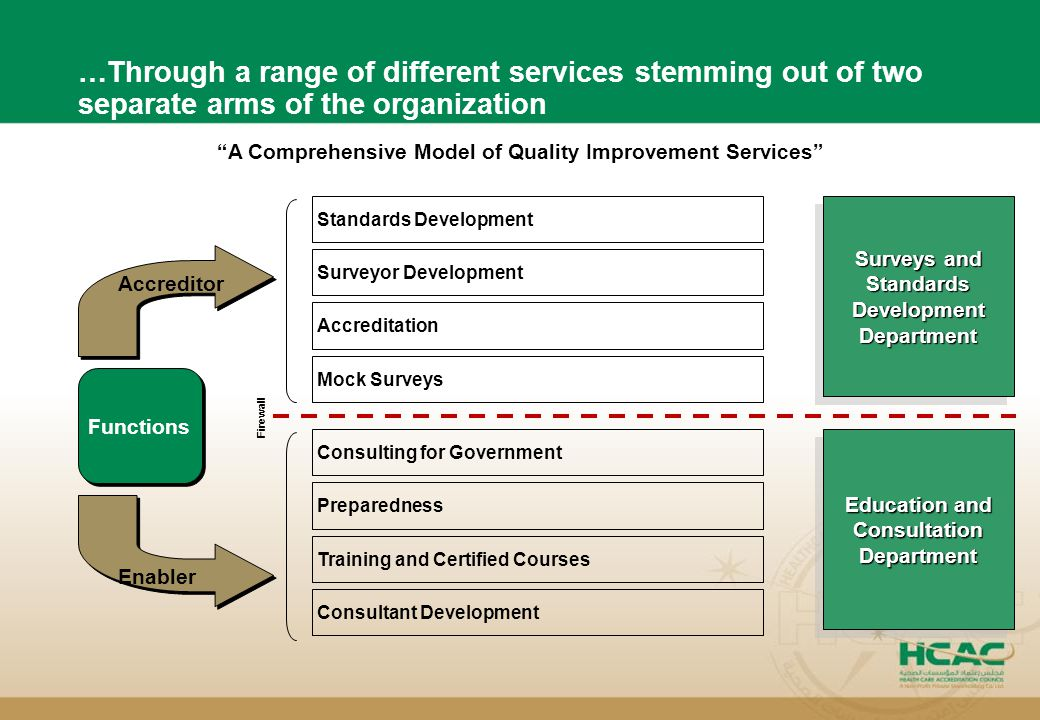 4 …Through a range of different services stemming out of two separate arms of the organization Functions Accreditor Enabler Consultant Development Tra