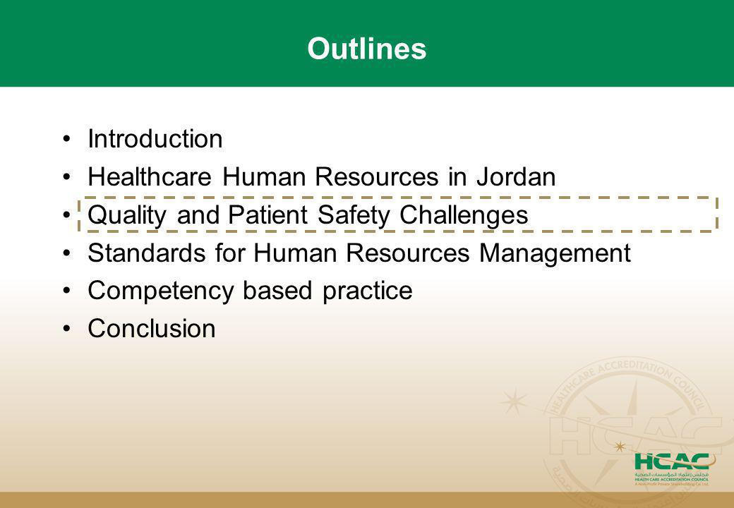 Outlines Introduction Healthcare Human Resources in Jordan Quality and Patient Safety Challenges Standards for Human Resources Management Competency b