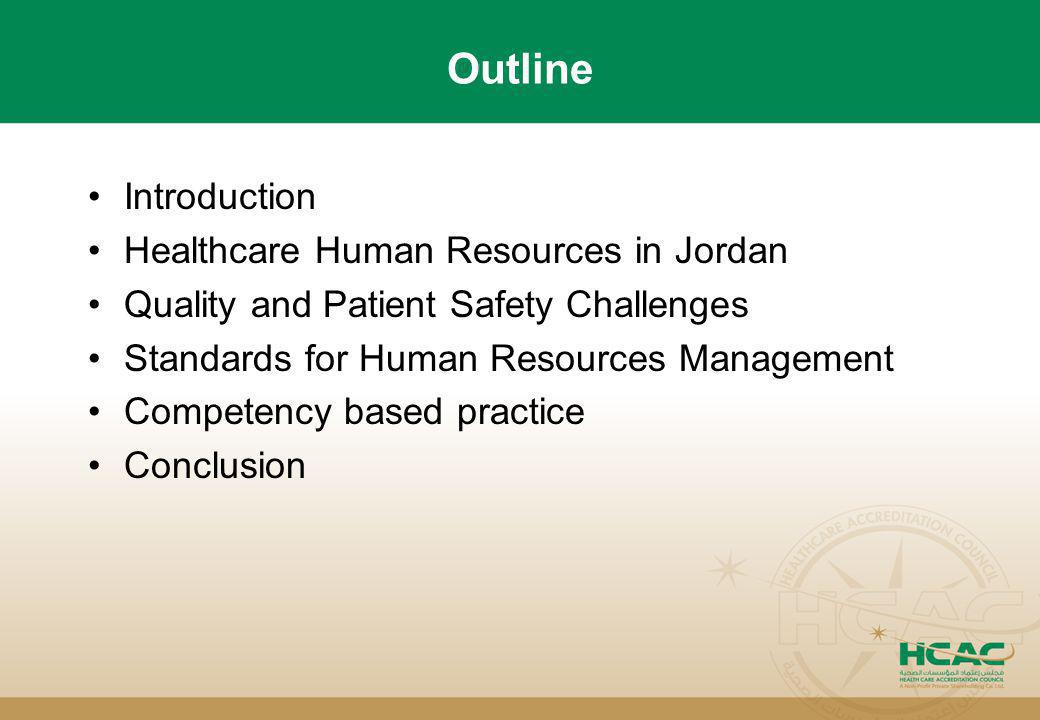 Outline Introduction Healthcare Human Resources in Jordan Quality and Patient Safety Challenges Standards for Human Resources Management Competency ba