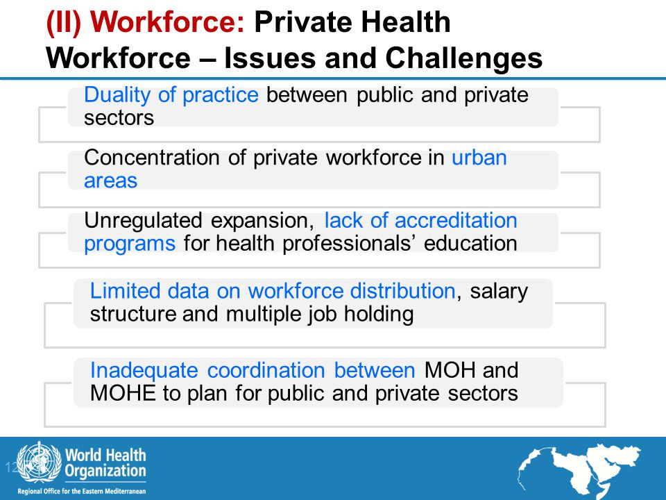 12 | Duality of practice between public and private sectors Concentration of private workforce in urban areas Unregulated expansion, lack of accreditation programs for health professionals' education Limited data on workforce distribution, salary structure and multiple job holding Inadequate coordination between MOH and MOHE to plan for public and private sectors (II) Workforce: Private Health Workforce – Issues and Challenges