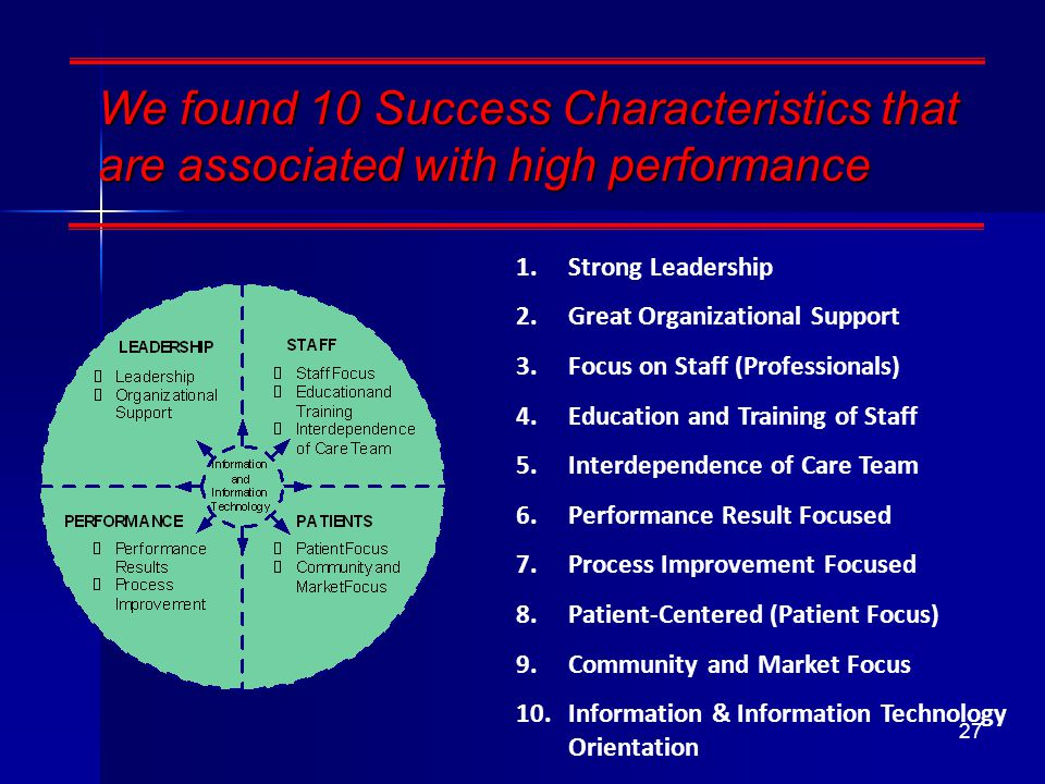 We found 10 Success Characteristics that are associated with high performance 1.Strong Leadership 2.Great Organizational Support 3.Focus on Staff (Professionals) 4.Education and Training of Staff 5.Interdependence of Care Team 6.Performance Result Focused 7.Process Improvement Focused 8.Patient-Centered (Patient Focus) 9.Community and Market Focus 10.Information & Information Technology Orientation 27