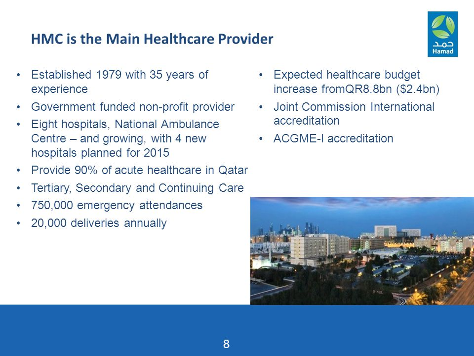 HMC is the Main Healthcare Provider 8 Established 1979 with 35 years of experience Government funded non-profit provider Eight hospitals, National Amb