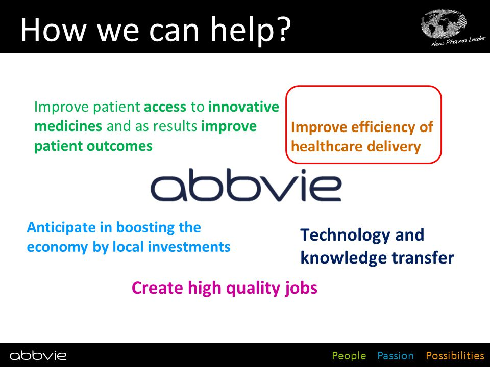 People Passion Possibilities How we can help? Technology and knowledge transfer Improve patient access to innovative medicines and as results improve