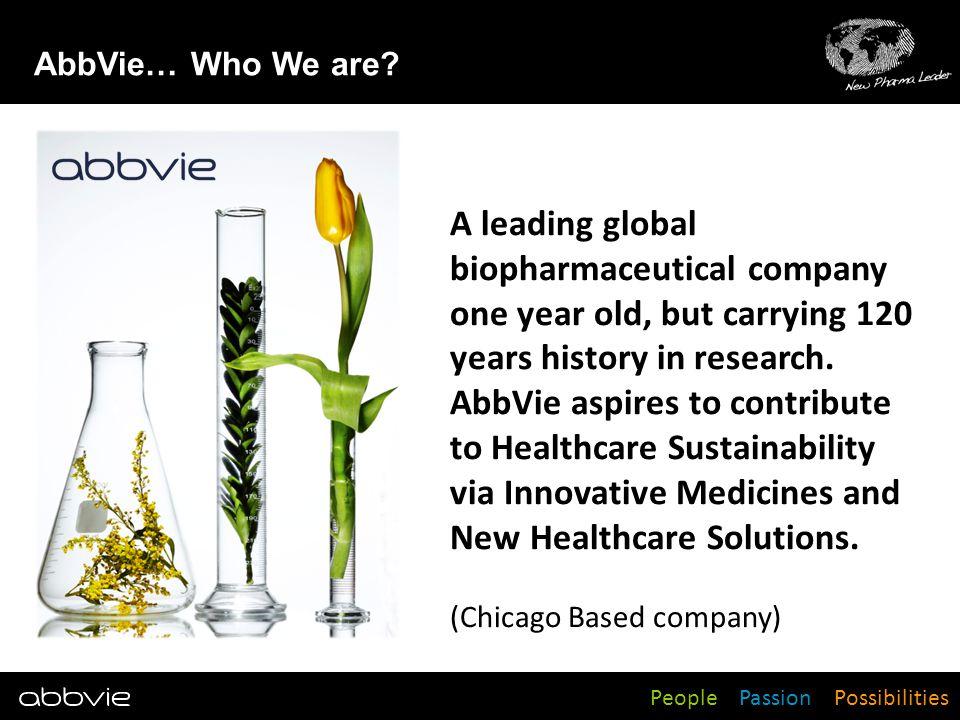 People Passion Possibilities A leading global biopharmaceutical company one year old, but carrying 120 years history in research. AbbVie aspires to co