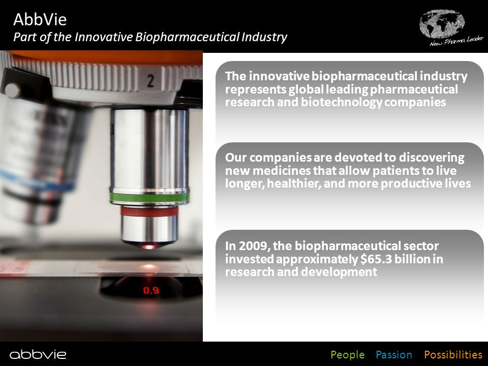People Passion Possibilities AbbVie Part of the Innovative Biopharmaceutical Industry The innovative biopharmaceutical industry represents global lead