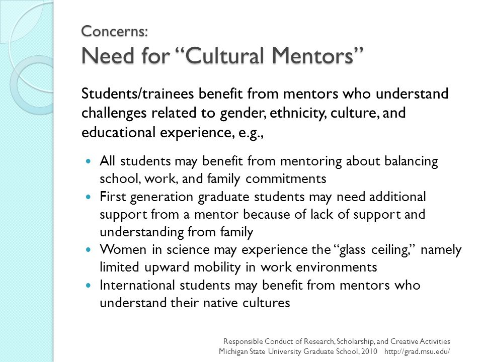 "Concerns: Need for ""Cultural Mentors"" All students may benefit from mentoring about balancing school, work, and family commitments First generation gr"