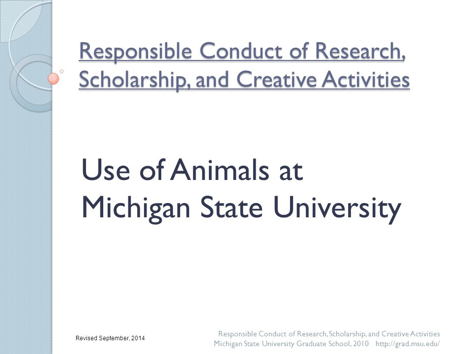 Oversight of Animal Use at MSU: Requirements Research – agricultural, biomedical, veterinary, social science, natural science, and wildlife research; clinical trials; and any activity that involves animals and will be published Teaching – all course work, as well all activities related to or required for degree completion Testing – all clinical trials; testing of drugs, compounds, and or devices; and testing of feed or nutritional supplements Responsible Conduct of Research, Scholarship, and Creative Activities Michigan State University Graduate School, 2010 http://grad.msu.edu/ An Animal Use Form (protocol) must be reviewed and approved by the IACUC for all: