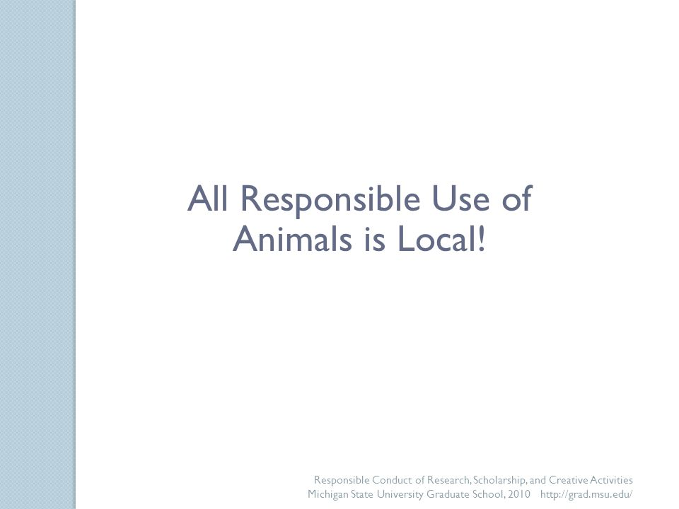 Responsible Conduct of Research, Scholarship, and Creative Activities Michigan State University Graduate School, 2010 http://grad.msu.edu/ All Responsible Use of Animals is Local!