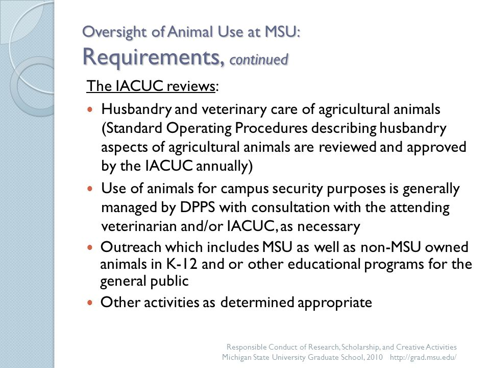 Oversight of Animal Use at MSU: Requirements, continued The IACUC reviews: Husbandry and veterinary care of agricultural animals (Standard Operating Procedures describing husbandry aspects of agricultural animals are reviewed and approved by the IACUC annually) Use of animals for campus security purposes is generally managed by DPPS with consultation with the attending veterinarian and/or IACUC, as necessary Outreach which includes MSU as well as non-MSU owned animals in K-12 and or other educational programs for the general public Other activities as determined appropriate Responsible Conduct of Research, Scholarship, and Creative Activities Michigan State University Graduate School, 2010 http://grad.msu.edu/