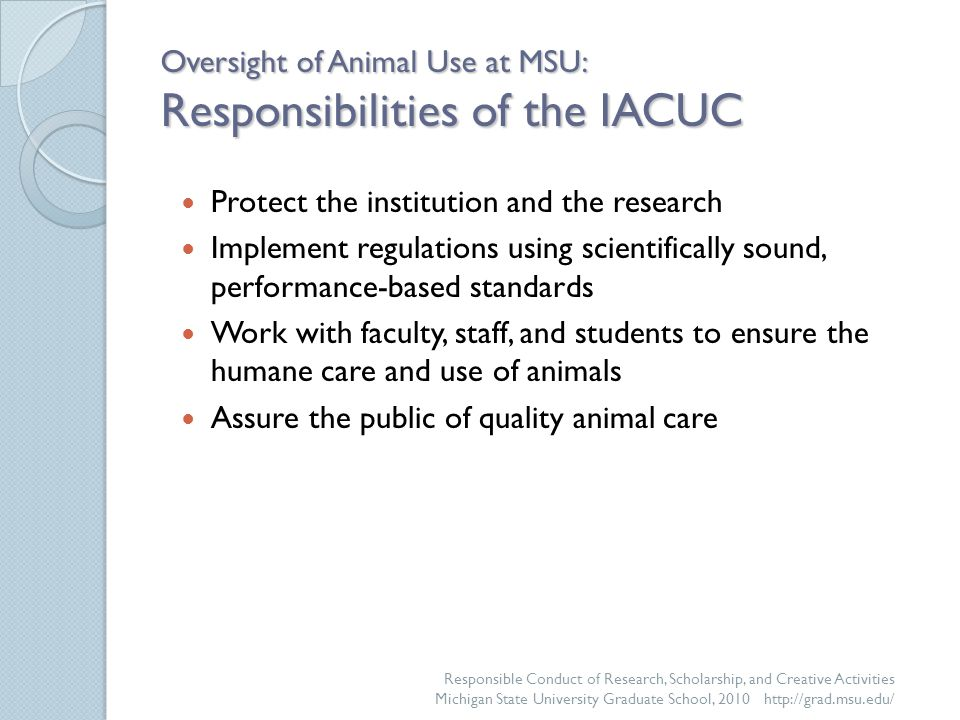 Oversight of Animal Use at MSU: Responsibilities of the IACUC Protect the institution and the research Implement regulations using scientifically sound, performance-based standards Work with faculty, staff, and students to ensure the humane care and use of animals Assure the public of quality animal care Responsible Conduct of Research, Scholarship, and Creative Activities Michigan State University Graduate School, 2010 http://grad.msu.edu/
